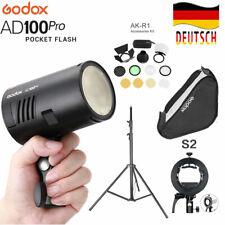 DE Godox AD100Pro 2.4G TTL HSS Blitz +S2 Blitzhalter + AK-R1 + Softbox + Stativ
