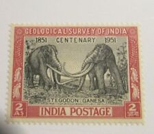 INDIA Scott #232 * MH, Elephant, geology 100th, stamp , 2 As + 102 card