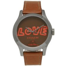 NWT COACH X KEITH HARING LOVE Saddle Brown Leather Maddy Watch W1296 14502805
