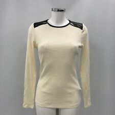 Lauren Ralph Lauren Top M UK 12 Cream Ribbed Cotton Shoulder Zip Casual 243288