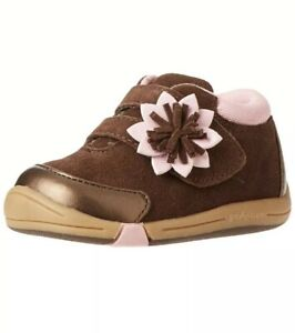 Jumping Jacks Baby Girls Size 4.5 W Wide Flower Bootie Suede Chocolate Brown