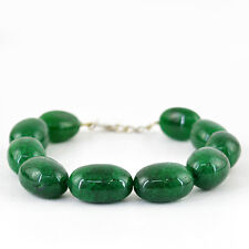 BEST OFFER 357.30 CTS EARTH MINED OVAL SHAPED RICH GREEN EMERALD BEADS BRACELET