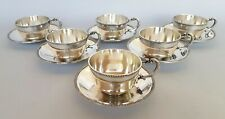 6 PCS SOLID SILVER COFFEE CUPS & SAUCER