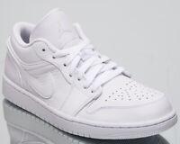 """Air Jordan 1 Low """"All White"""" Men's New White Pure Platinum Sneakers 553558-111"""