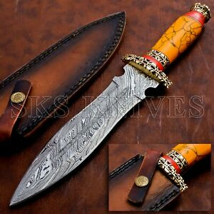 Handmade Damascus Steel Dagger Knife With  Stone Handle and leather Sheath
