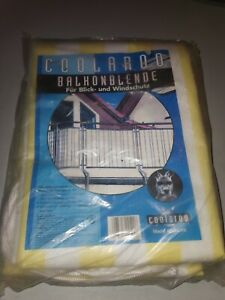 Coolaroo Balkonblende Windschutz Balkonumspannung 0,9x 5 m gelb weiß gestreift