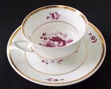 Antique c1840 DAVENPORT Bone China England Purple FLORAL Center Set Cup & Saucer