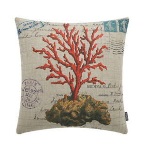 """Elegant Vintage Coral Sea OceanThrow Cushion Pillow Covers 18"""""""