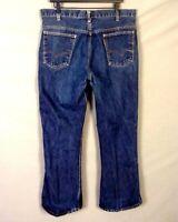 vtg 60s Levis 646 Bell Bottom Big E Orange Tab Denim Jeans #6 Scovill 37 X 29