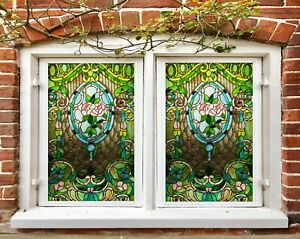 3D Green Leaves I441 Window Film Print Sticker Cling Stained Glass UV Block Amy