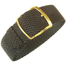 20mm EULIT Panama Brown Woven Nylon Perlon GOLD Buckle German Watch Band Strap