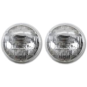 "5-3/4"" Sealed Beam Incandescent Glass High Hi Beam Headlight Headlamp Bulbs Pair"