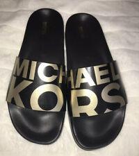 Michael Kors Gilmore Slide Sandals Black & Gold Women's Size 10 NIB