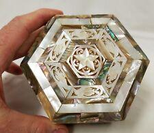 Vintage Inlaid Mother of Pearl Trinket Box from Israel Palestine Region