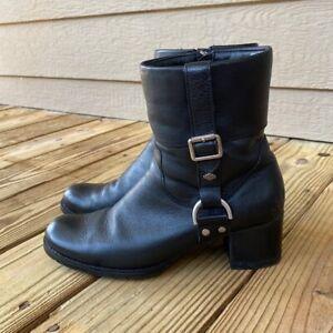Harley Davidson Womens Black Leather Casual Cuff Sadie Biker Boots Size 10