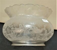 "AESTHETIC CROWN TOP GLASS GAS SHADE ETCHED FLORA 5"" FITTER"