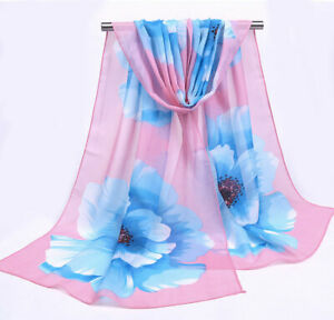 Baby Pink Fresh Blue Peonies Print Women Face Cover Wrap Silk Chiffon Scarf