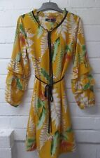 Womens Ladies New Tropical Floral Frill Tier Bubble Sleeve Shift Dress UK 8-16