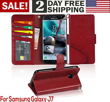 Samsung Galaxy J7 2018 Case PU Leather Wallet Style Card Pocket Phone Cover Red