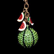 Large Pendant with rosé gold Chain Watermelon, Enamel, green Rhinestone