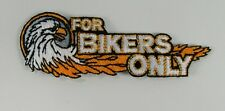 "FINAL CLEARANCE!!  Vintage ""For Bikers Only"" embroidered patch 4""x1"" eagle"