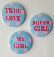Girlfriend Pink Star Button Fridge Magnets set of 3 by T Squared