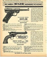 1956 Print Ad of Sturm Ruger Standard .22 Pistol & Single-Six Revolver