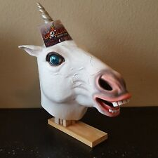 White Unicorn Horse Head Mask Halloween Costume Adult