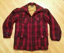 VINTAGE WOOLRICH RED PLAID MACKINAW JACKET M HEAVY WOOL COAT BUFFALO