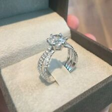2.68 TCW Round Cut DVVS1 Moissanite Engagement ring in 14K White Gold Plated