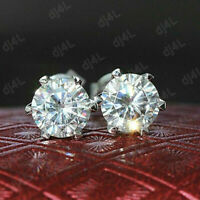 2.00 Ct Round Cut Solitaire Diamond 10k Real White Gold Stud Earrings For Womens