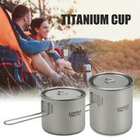 Lixada Camping Titanium Pot Water Cup w/Detachable Handle Outdoor Tableware H0F9