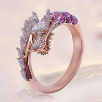 Vintage Dragon Head Design Ring Punk-Stil einstellbar Schmuck Diamant