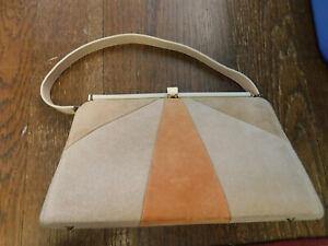 Vtg 3 Tone Patchwork Tan Orange Suede Purse Gold Frame Art Deco 1960s Handbag