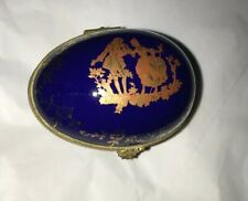 Limoges France Cobalt Blue & Gold Courting Couple Egg Floral Vine Trinket Box