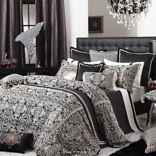 "New DAVINCI ""ROSSINI BLACK"" Ivory Jacquard QUEEN Quilt/Doona Cover Set RRP $400!"