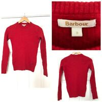 Barbour Wool Jumper Pullover Women Red Size 8 (C618)