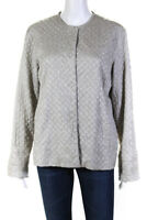 Eileen Fisher Womens Aged Silk Quilted Long Sleeve Jacket Gray Size Large