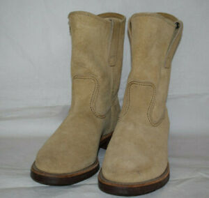 Red Wing Shoes 1188 Pecos Beige Suede Boots UK6 US6.5E Pull On/Soft Toe/USA EU40