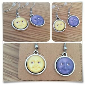 Emoji Moon Face grin Eyes Smile YELLOW & GREY mini EARRINGS