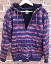 Quicksilver Cotton Navy/burgandy Long Sleeve Zip Front Hoodie Sweatshirt Sz S