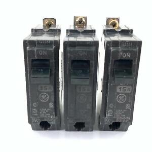 Pack of 3 GE Type THQB Circuit Breaker 15 Amp 1 Pole 120/240V