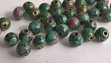 200+ Vintage Cloisonne 8mm Round Beads—Green w/Pink, Lt Blue & Lt Green Floral