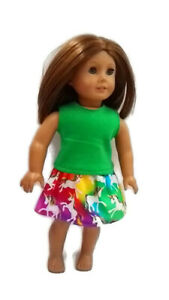 """Colorful Unicorn Top & Skirt Outfit fits American Girl dolls 18"""" Doll Clothes"""