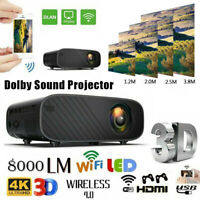 LED Smart Home Theater Dolby Projector Android 6.0 4K Wifi 1080p HD 3D Movie