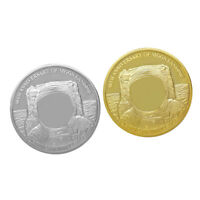 Set of 2 Gold Plated Challenge Coin Moon Landing Commemorative Coin Collectibles