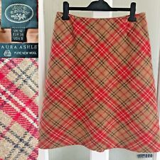 Vintage Laura Ashley Skirt Size 12 Tartan 100% Wool Red Check Beige Lined L26.5""