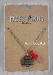 New John Green Paper Towns Push Pin Disc Quote Pendant Necklace Jewelry