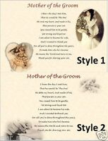 MOTHER OF THE GROOM GIFT - From Bride - (personalised poem) laminated gift