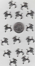 YOU GET 15  METAL SILVER TONE POODLE DOG  CHARMS,   C 13 - FROM   U.S. SELLER.